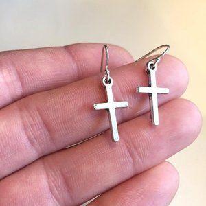 Sterling Silver Tiny Cross Charm Earrings